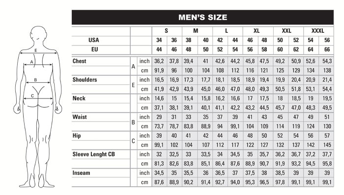 Able'S Reference Size Chart For Beretta Clothing