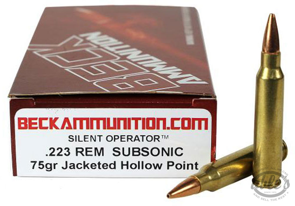 Beck SubSonic Rifle Ammunition 22375SUB20, Commercial Reload, 223  Remington, Jacketed Hollow Point, - Able Ammo