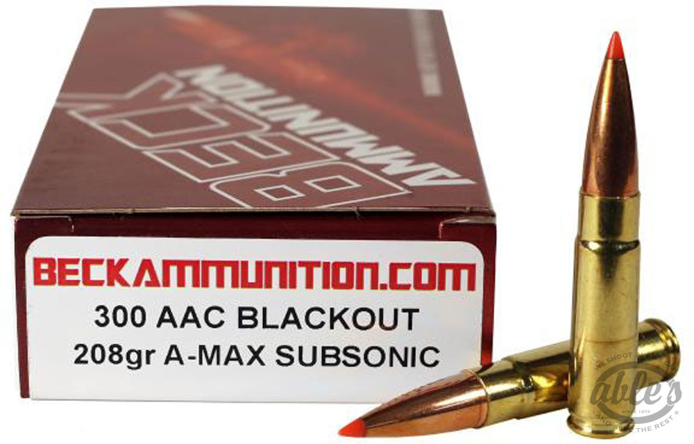 Beck SubSonic Rifle Ammunition 300BLK208A, 300 AAC Blackout, A-Max, 208 Gr,  990 FPS,20 Rd/bx - Able Ammo