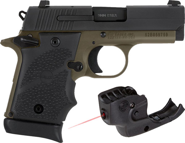 Sig Sauer P938 Pistol 9389DBLSRAMBI, 9mm, 3 inch, Hogue Rubber Grip, FDE  Finish, Contrast Sights 7 Rd - Able Ammo