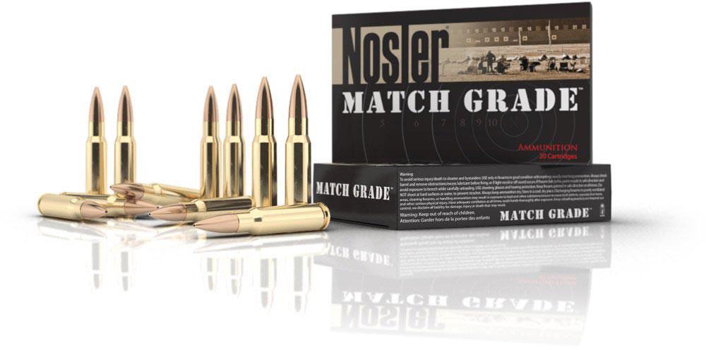 Nosler Match Grade Rifle Ammunition 60016, 22 Nosler, Custom Competition,  77 GR, 2950 fps, 20 Rd/Bx - Able Ammo