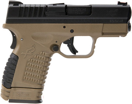 Springfield XDS Compact Pistol XDS93345DEE, 45 ACP, 3 3 in, Flat Dark Earth  Polymer Grip, Black Fini - Able Ammo