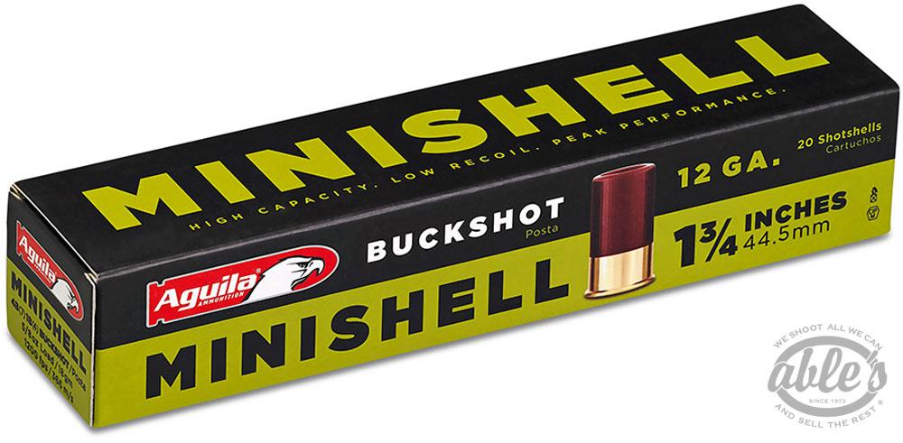 Aguila Minishell Shotshells 1CHB1288, 12 Gauge, 1-3/4 inch, 5/8 oz, 1200  fps, #4/#1 Buckshot, 20 Rd/bx - Able Ammo