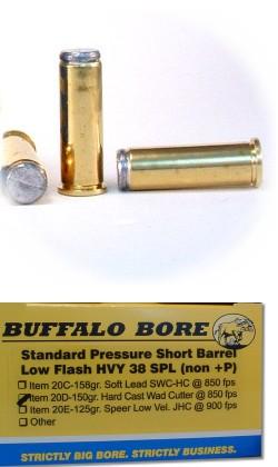 Buffalo Bore Handgun Ammo 20D/20, 38 Special, Hard Cast Wad Cutter, 150 GR,  850 fps, 20 Rd/Bx - Able Ammo