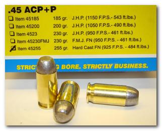 Buffalo Bore Handgun Ammo 45-255/20, 45 ACP +P, Hard Cast Flat Nose (FN),  255 GR, 925 fps, 20 - Able Ammo