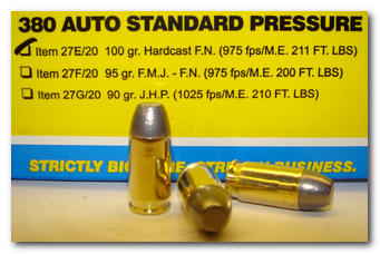 Buffalo Bore Handgun Ammo 27E/20, 380 Auto, Hardcast Flat Nose (FN), 100  GR, 975 fps, 20 Rd/Bx - Able Ammo