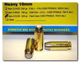 Buffalo Bore Handgun Ammo 21C/20, 10mm, Hard Cast Flat Nose (FN), 220 GR,  1200 fps, 20 Rd/Bx - Able Ammo