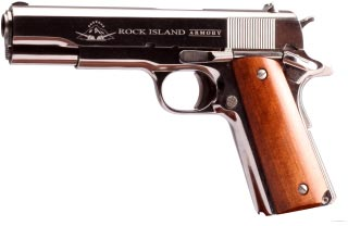 Rock Island Armory Standard GI 1911 Pistol 51433, 45 ACP, 5 in, Wood Grips,  Polished Nickel Finish, - Able Ammo