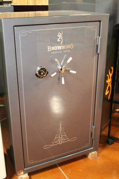 Browning Gold Safe 2012 Model G39 w/Silver Metallic Finish, Scroll Scene,  Dial Lock, Chrome Trim SH - Able Ammo