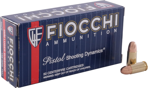 Fiocchi Shooting Dynamics Pistol Ammo 9APE, 9mm, Full Metal Jacket (FMJ),  158 GR, 940 fps, 50 - Able Ammo