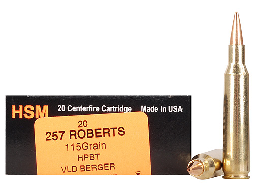 HSM Trophy Gold Rifle Ammo 257R115VLD, 257 Roberts, Berger Hunting VLD, 115  GR, 2955 fps, 20 R - Able Ammo