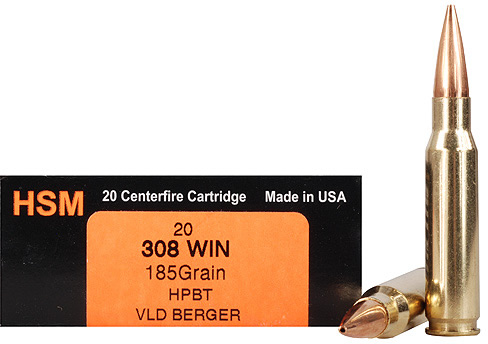 HSM Trophy Gold Rifle Ammo 308185VLD, 308 Winchester, Berger Hunting VLD,  185 GR, 2606 fps, 20 - Able Ammo
