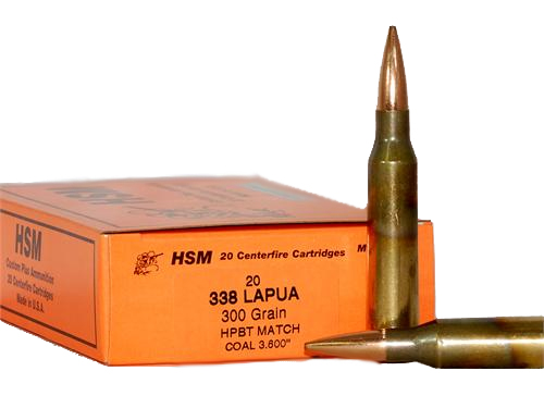 HSM Custom Plus Rifle Ammo 338LAPUA-3-N, 338 Lapua, HPBT Match, 300 GR,  2735 fps, 20 Rd/bx - Able Ammo