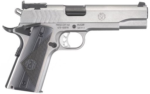Ruger SR1911 Target Pistol 6759, 9MM, 5 in, G10 Grip, Stainless Finish, 9  Rd - Able Ammo