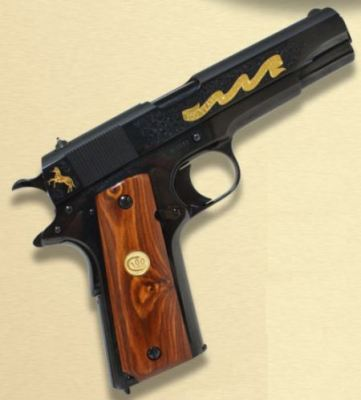 Colt Limited Edition100 Year Anniversary Pistol O1911ANVII, 45 ACP, 5 in,  Cocobolo Wood Grip, Blue F - Able Ammo