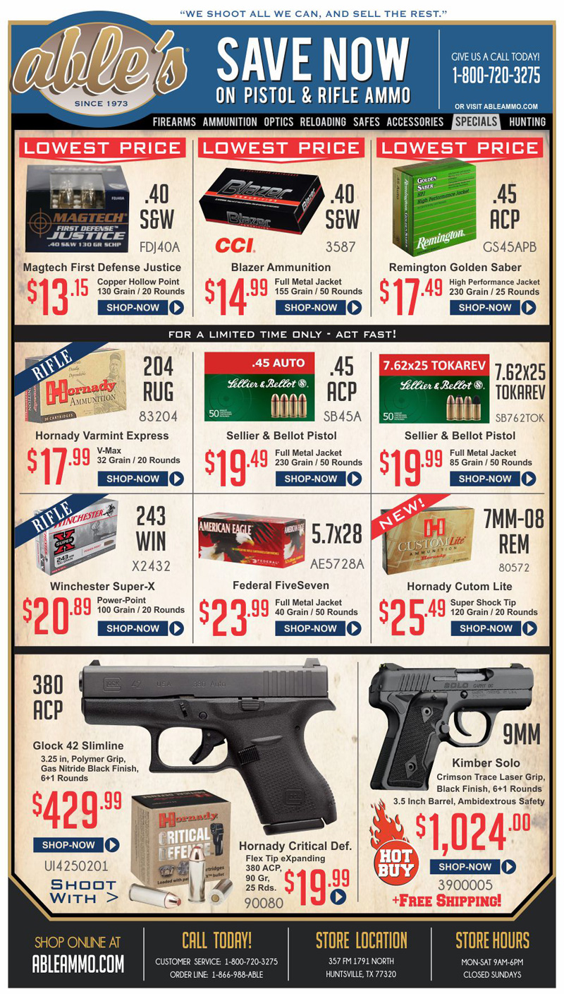 Huge Savings on Pistol and Rifle Ammunition