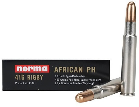 Norma African PH Ammo 11071, 416 Rigby, Full Metal Jacket Woodleigh, 450  GR, 2067 fps, 10 Rd/bx - Able Ammo