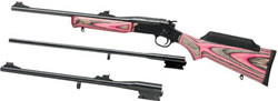 Rossi Matched Pair Youth Rifle S2022243YPBL 243 Win 22LR 20 Gauge 22 in 18 5 in 22 in Pink Black Laminated Stock Matte Blue Finish