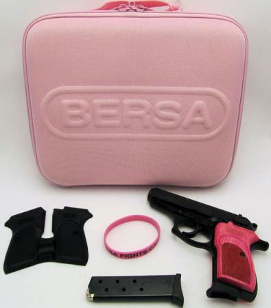 Bersa Thunder 380 Breast Cancer Awareness Pistol Kit T380MPKIT, 380 ACP,  3 5 in, Pink Grip, Matte Bl - Able Ammo