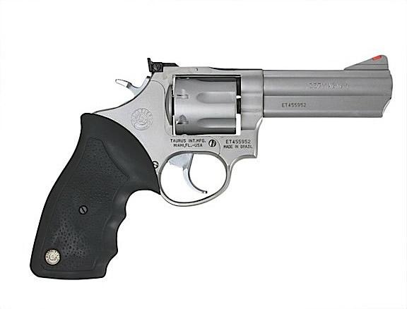 Taurus 66 Medium Frame Revolver 2660049, 357 Magnum, 4 inch, Black Rubber  Grip, Matte Stainless Finish, - Able Ammo