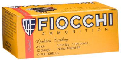 Fiocchi Turkey Loads 123TRK, 12 Gauge, 3 inch, 1-3/4 oz, 1325 fps, #5  Nickel-Plated Lead Shot, 10 Rd/bx - Able Ammo