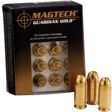 Magtech Sport Guardian Gold Cartridges GG9B, 9mm +P, Jacketed Hollow Point  (JHP), 124 GR, 1096 fps, - Able Ammo