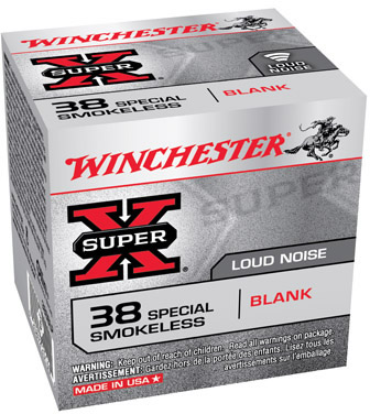 Winchester Blank Ammunition 38SBLP, 38 Special, Black Powder Blank, Loud  Noise 50 Rd/bx - Able Ammo
