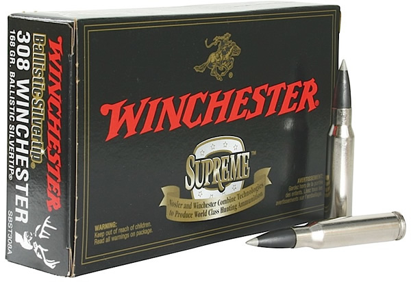 Winchester Supreme Rifle Ammo SBST308A, 308 Winchester, Ballistic  Silvertip, 168 GR, 2670 fps, - Able Ammo