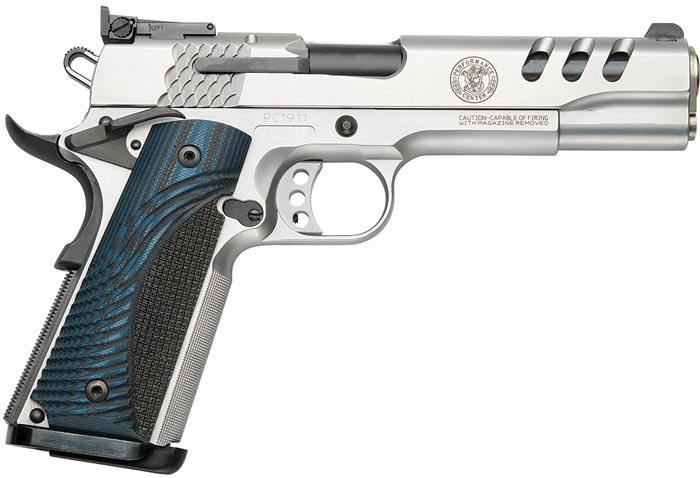 Smith & Wesson 1911 Performance Center Pistol 170343, 45 ACP, 5 in, Wood  Grip, Stainless Finish, 8 R - Able Ammo