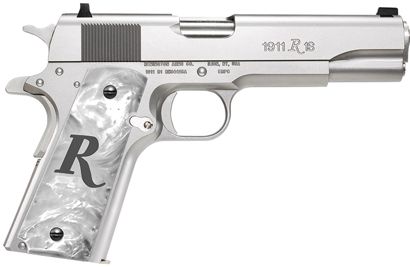 Remington 1911 R1 Pistol 96304, 45 ACP, 5 in, Pearl Grip, Stainless Finish,  8 Rd - Able Ammo