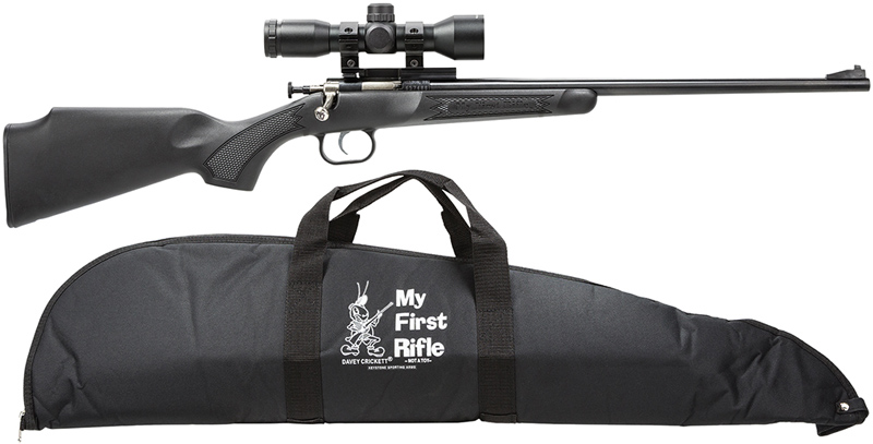 Crickett Single Shot Bolt Action Rifle 240BSC, 22 LR, 16 1 inch, Black  Synth w/Pistol Grip Stock, Blued - Able Ammo