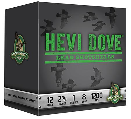 Hevishot Hevi-Dove Shotshells 91208, 12 Gauge, 2-3/4 inch, 1 oz, 1200 fps,  #8 Lead Shot, 250 Rds/case - Able Ammo