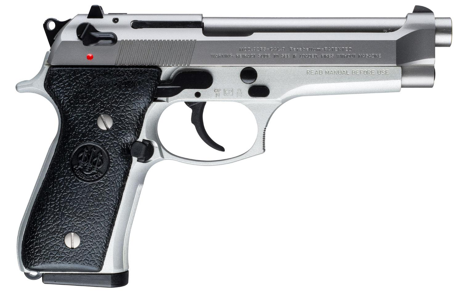 Beretta 92 FS Semi-Auto Pistol JS92F520, 9mm, 4 9 inch, Black Synthetic  Grips, Stainless Steel Finish, 1 - Able Ammo