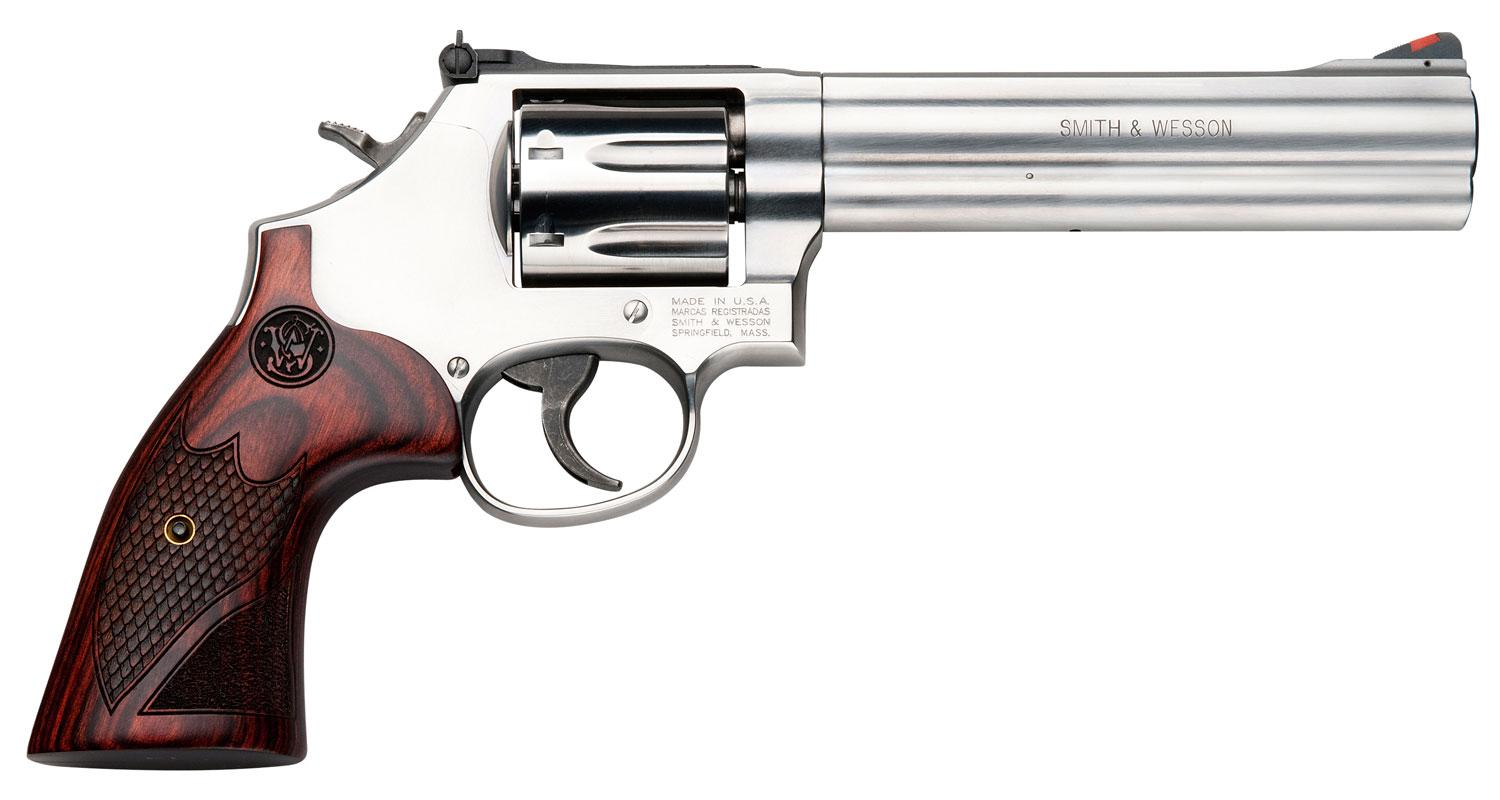 Smith & Wesson 686 Plus Deluxe Revolver 150712, 357 Mag, 6 inch, Wood  Grips, Stainless Steel Finish, 7 R - Able Ammo
