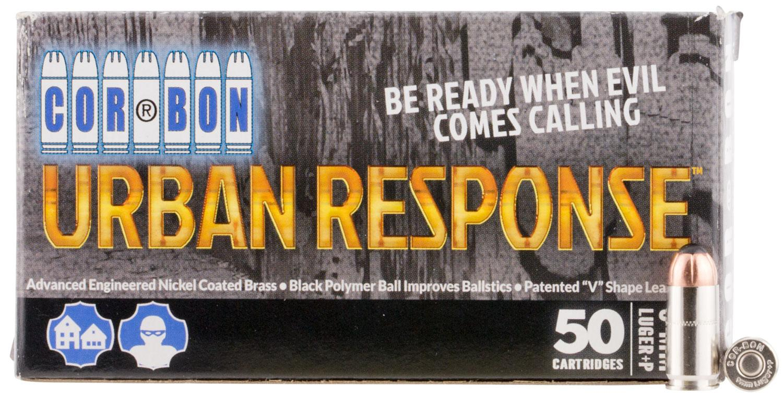 Corbon Urban Response Handgun Pistol Ammunition UR09100, 9mm Luger,  Powerball, 100 GR, 1475 fps, 50 - Able Ammo