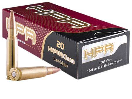 HPR Hyperclean Rifle Ammunition 308168BTHPRB, 308 Winchester, Boat Tail  Hollow Point Match, 168 GR, - Able Ammo