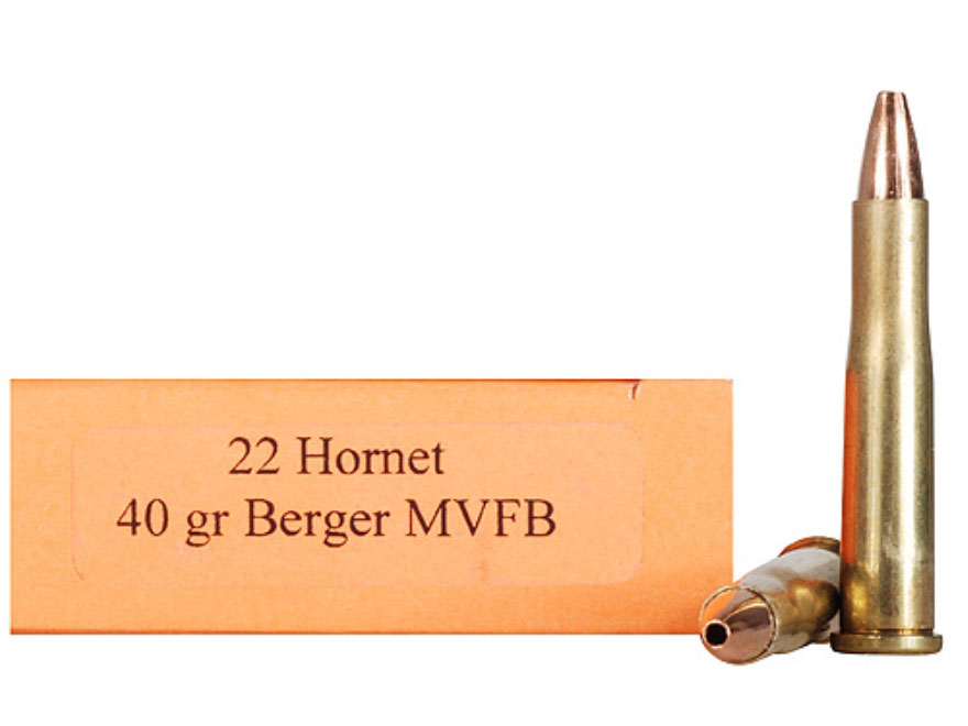 HSM Varmint Gold Rifle Ammunition 22H40MVFB, 22 Hornet, Berger Match  Varmint Flat Base, 40 GR, 2800 - Able Ammo