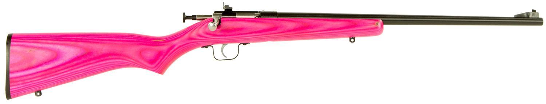 Crickett Single Shot Bolt Action Rifle KSA2225, 22 Long Rifle, 16 12 inch,  Laminate Pink Stock, Blued Fi - Able Ammo