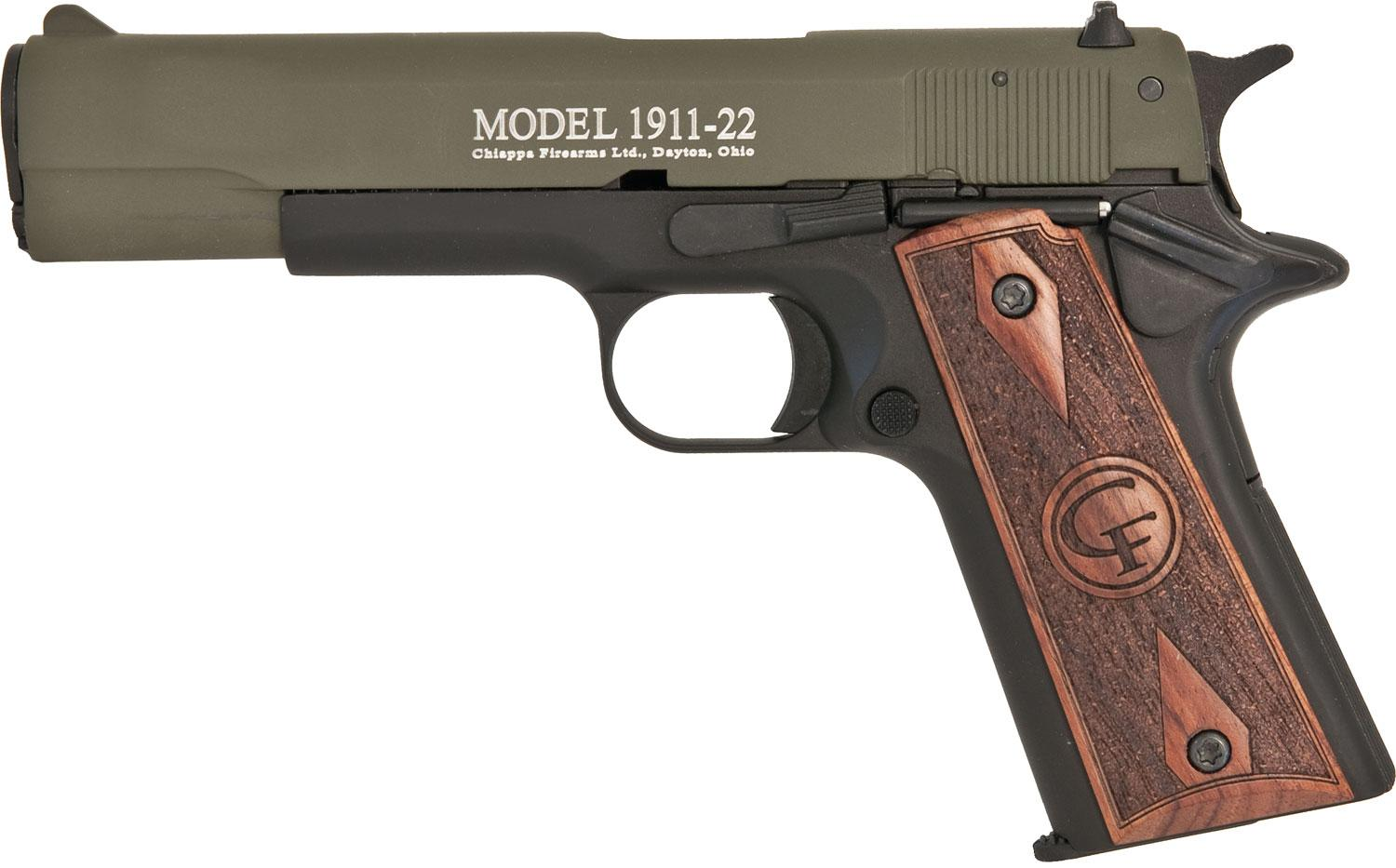 Chiappa 1911 Standard Pistol 401121, 22 Long Rifle, 5 inch, Hogue Rubber  Grip, OD Green Finish, 10 Rd - Able Ammo