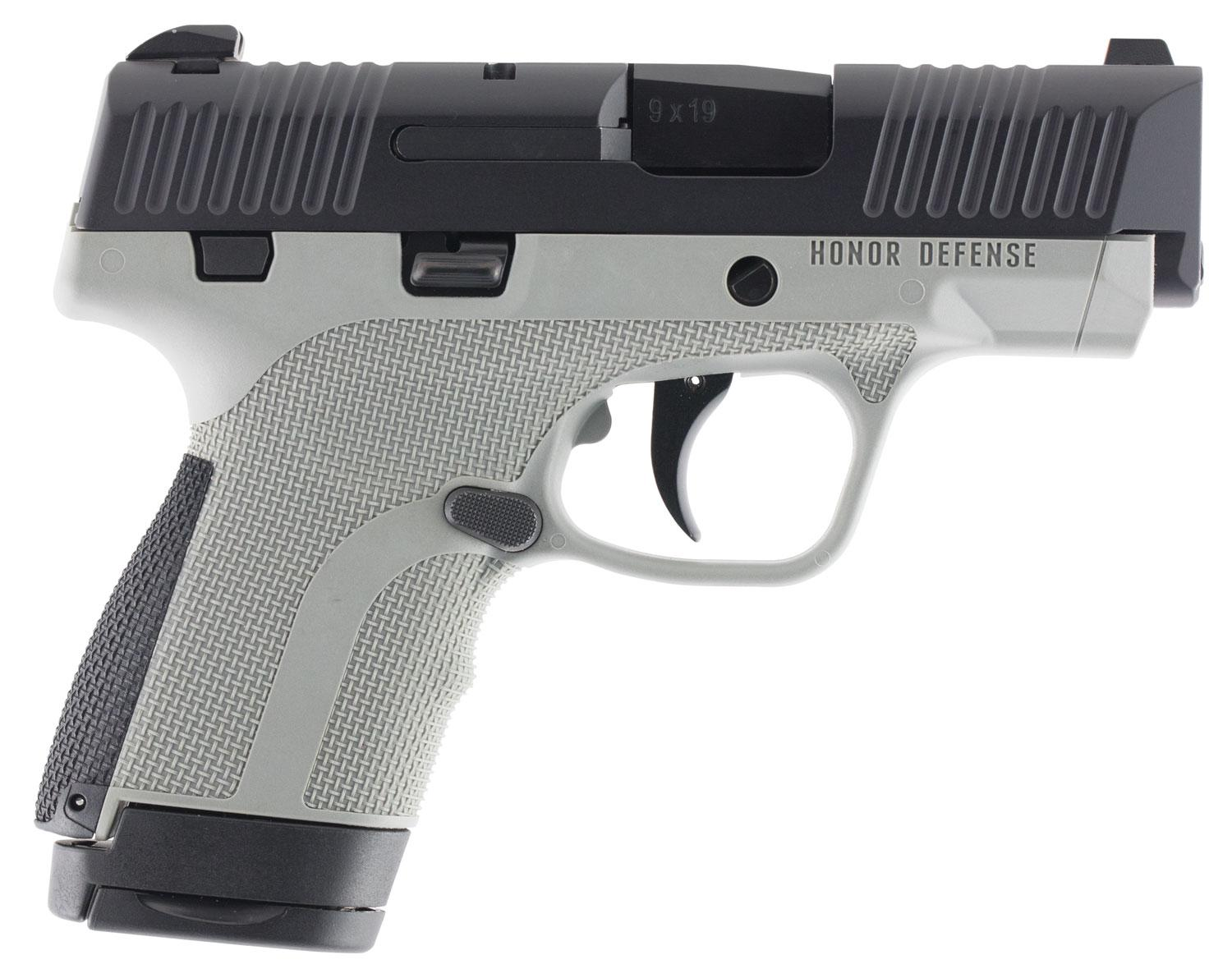 Honor Defense Honor Guard Sub-Compact Pistol HG9SCGRA, 9mm Luger, 3 2 inch,  Gray Interchangeable Backstr - Able Ammo