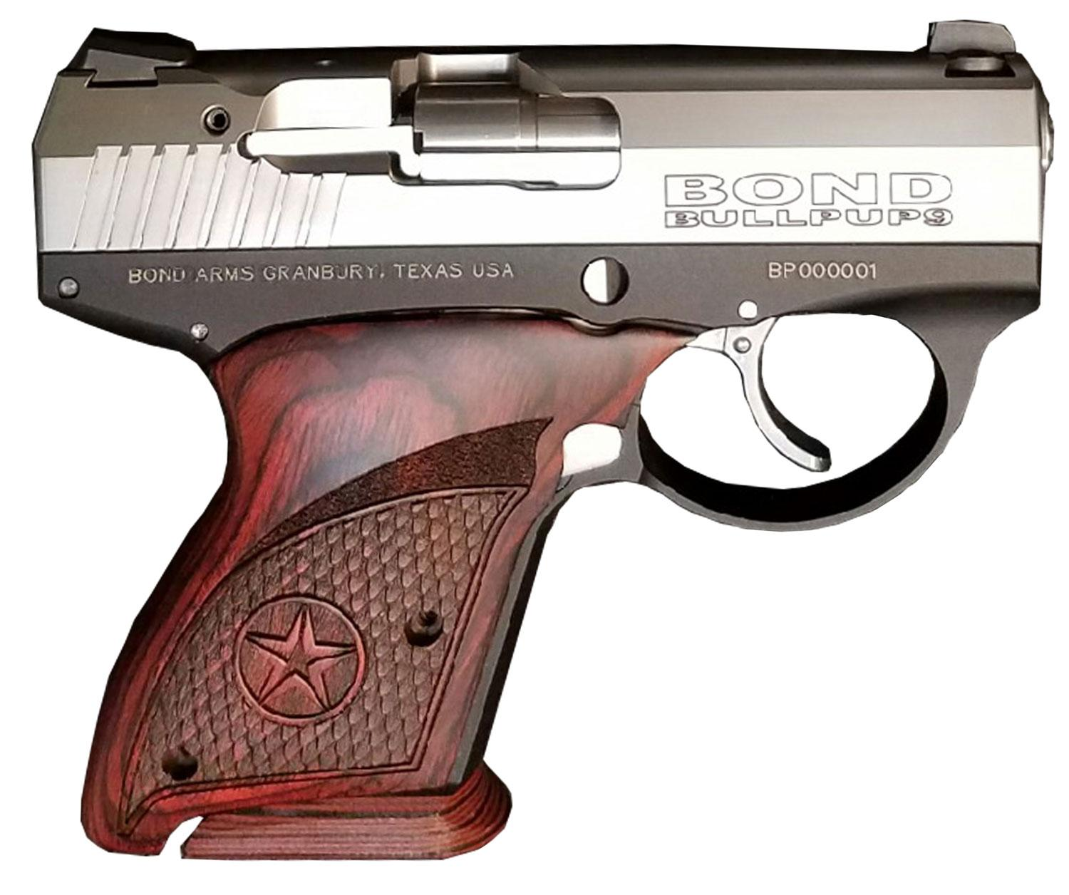 Bond Arms BullPup Pistol BULLPUP9, 9mm Luger, 3 35 inch, Rosewood Grips,  Black Finish, 7 Rds - Able Ammo