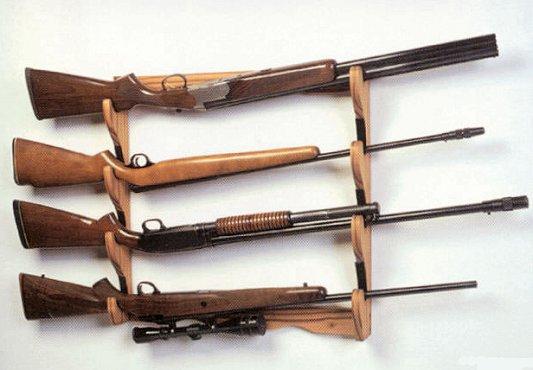 SA 10704 Wood Wall 4 Gun Rack Able Ammo